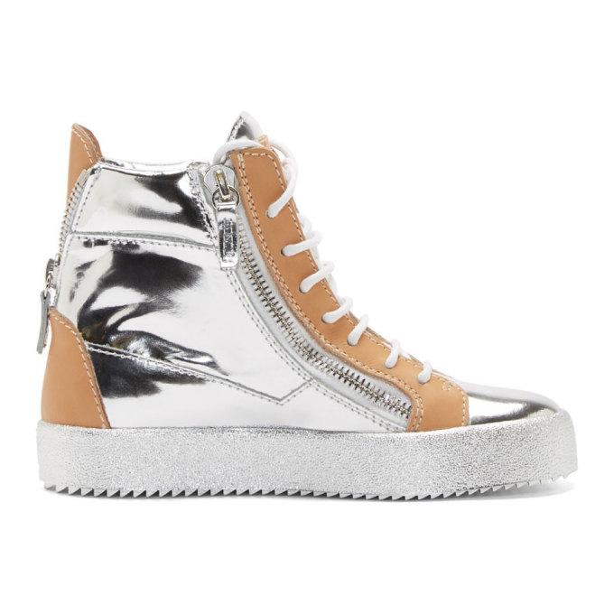 朱塞佩·萨诺第Giuseppe Zanotti银色& Beige皮质May London坡跟运动鞋