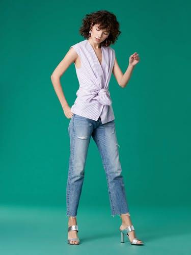 黛安·冯芙丝汀宝Diane von Furstenberg DVF无袖Waist领带衬衫(女款)