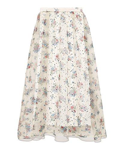 莉莉布朗Lily [ 棕色 ] シアーフラワーボリュームスカート lwfs182045女士