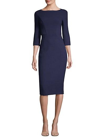 迈克·科尔斯Michael Kors Collection绉纱船形领连衣裙