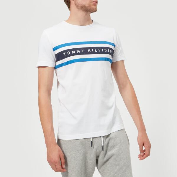 汤米·希尔费格Tommy Hilfiger男式Logo表带图案T恤- Bright白色