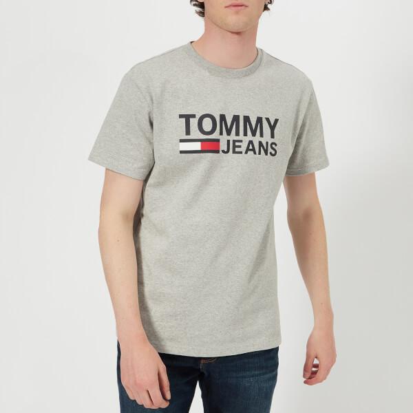 汤米·希尔费格Tommy-Jeans男式Tommy经典LogoT恤-浅麻灰色