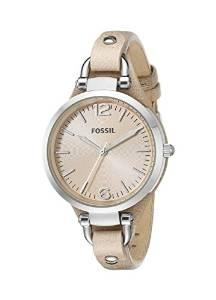 化石Fossil女式ES2830 Georgia不锈钢手表带皮质表带