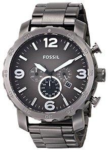 化石Fossil男式JR1437 Nate精密计时Smoke不锈钢手表