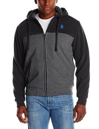 美国马球协会U.S. Polo Assn.男式夏尔巴内衬拼色连帽羊毛外套