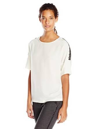 卡尔文克莱恩Calvin Klein女式肩部带水钻蝙蝠袖中袖圆领衬衣