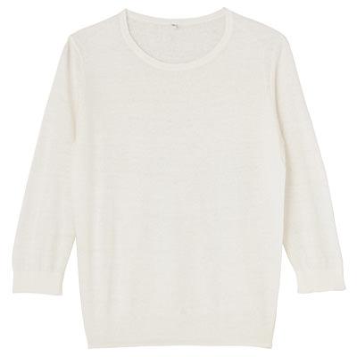 无印良品MUJI纯色圆领七分袖棉麻薄款针织上衣