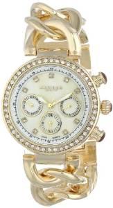 阿克波斯Akribos XXIV女式AK640YG女式钻石瑞士多功能珍珠贝母水晶金色扭链腕表