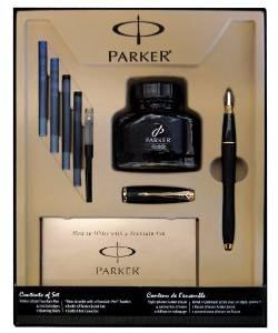 派克高端商务礼品!Parker 1760841黑磨砂GT钢笔+墨盒+墨水礼盒套装