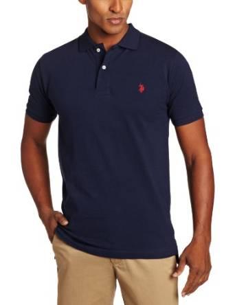 美国马球协会U.S. Polo Assn.男式SolidPOLO衫[印有小马标志]