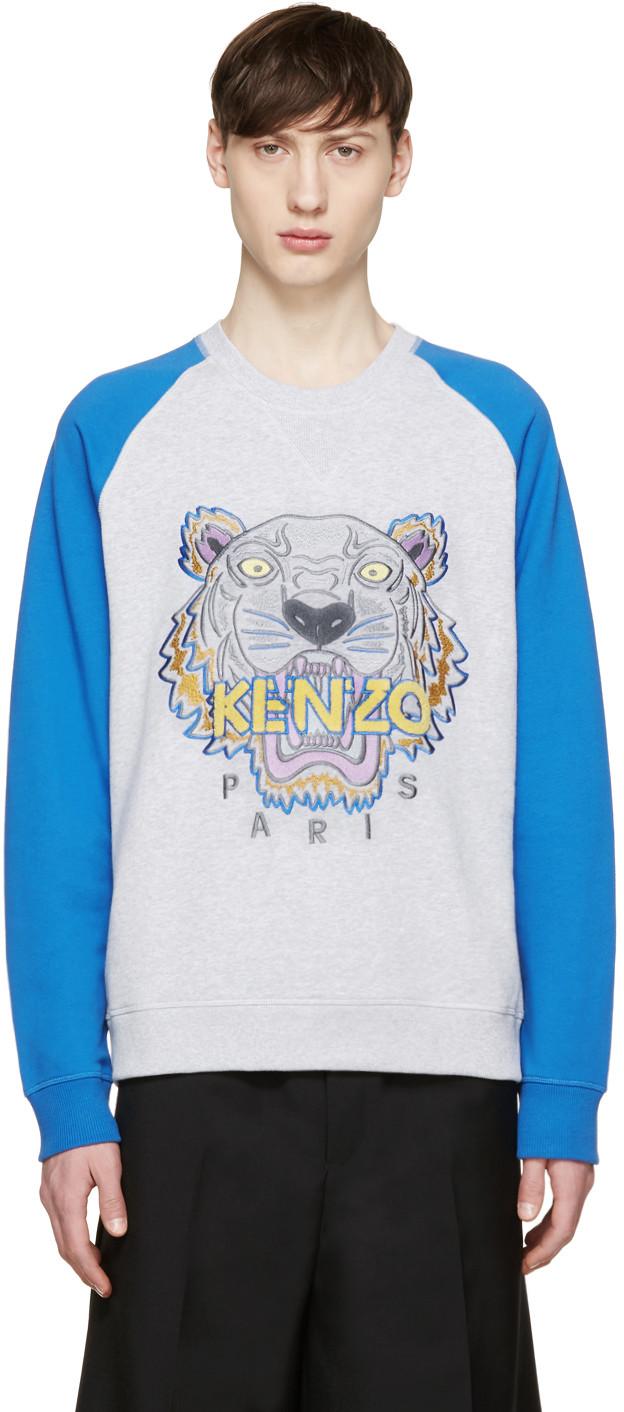 高田贤三Kenzo灰色&蓝色插肩袖Tiger套头衫